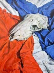 Cráneo de Cordero. Óleo sobre tabla, 60 x 44 cm.